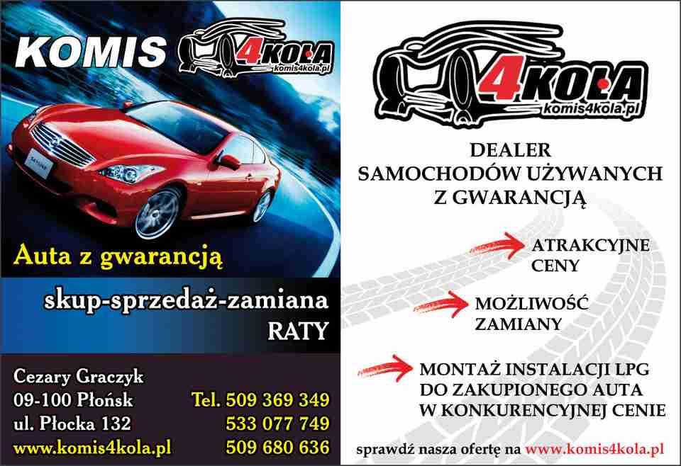 Masywnie KOMIS 4KOŁA PŁOŃSK Auto Komis sprzedaż samochodów samochody HB23